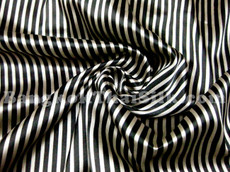 "Stripe Faux Silk Satin 44"" Fabric - Black & Gold"