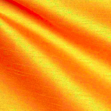 "Faux Silk Caprice Dupioni 60""W Fabric - Orange Shot Red"