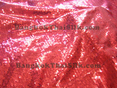 Sequin Satin Fabric - Red