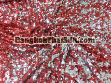 Sequin Mesh Dangle Fabric - Red & Silver