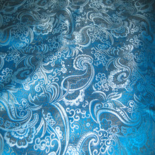 Paisley Metallic Brocade Fabric - Turquoise & Silver