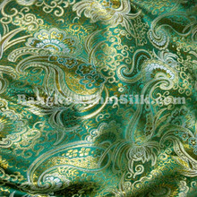 Paisley Metallic Brocade Fabric - Emerald & Gold