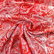 Paisley Metallic Brocade Woven Fabric - Red & Silver