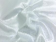 Square Diamond Bling Bling Metallic Brocade Fabric - White & Silver