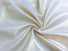 Square Diamond Bling Bling Metallic Brocade Fabric - White & Gold