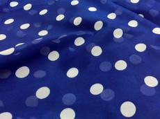 "Royal Blue Chiffon White Polka Dot 60""W Fabric"