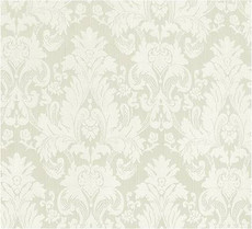Damask Faux Silk Fabric - Ivory