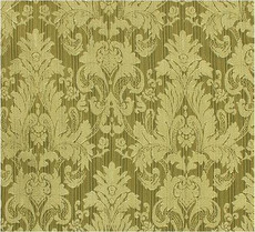 Damask Faux Silk Fabric - Green & Gold