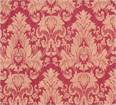 Damask Faux Silk Fabric - Raspberry & Gold