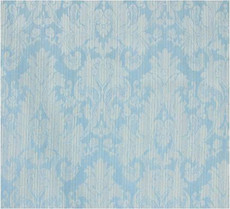Damask Faux Silk Fabric - Fatigue Blue & Cream