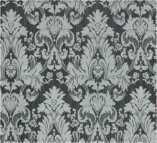 Damask Faux Silk Fabric - Black & Silver