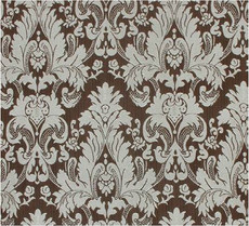 Damask Faux Silk Fabric - Brown & Silver