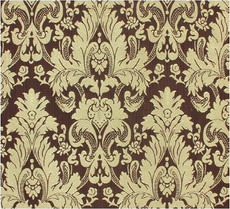 Damask Faux Silk Fabric - Brown & Gold