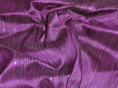 Reeded Stripe Dupioni 100% Auth Silk Fabric - Dark Royal Purple & Black