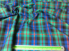 "Plaid Tartan Woven Cotton Fabric 44""W - Green Blue Red"