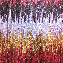 Hologram Oval Sequin Stretch Fabric - Black Red Gold