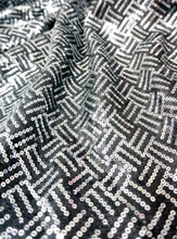 Stripe Sequin Fabric - Black & Silver
