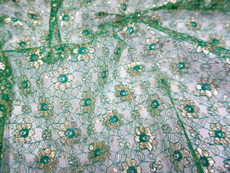 Jasmine Flower Embroidered Net Mesh Fabric - Emerald & Gold