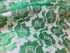 Freesia Flower Net Mesh Fabric - Emerald Green