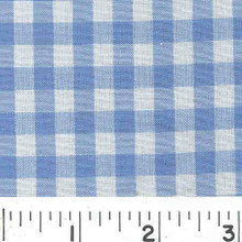 "Gingham 1/4"" Blue Check Cotton Blend Fabric"