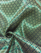 "Thai Silk Damask 40""W Fabric - Emerald & Gold"