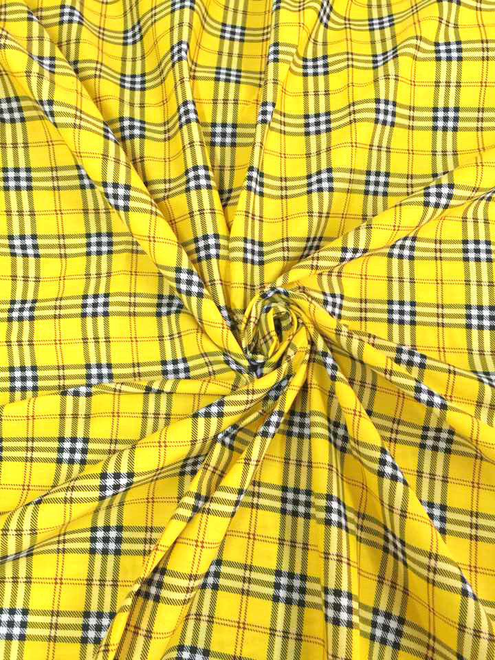 Plaid Tartan Print Cotton Blend Fabric 44w Yellow Black White Red