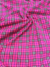 "Plaid Tartan Print Fabric 44""W - Hot Pink"