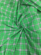 "Plaid Tartan Print Cotton Blend Fabric 44""W - Kelly Green"