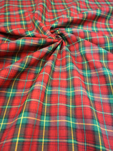 "Plaid Tartan Woven Cotton Fabric 44""W - Red Green"