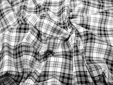 "Plaid Tartan Woven Cotton Fabric 44""W - Black & White"