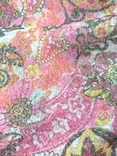 Sequin Paisley Sewn On Fabric - Pink