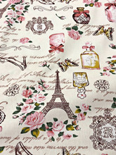 "Paris Rosette Print 100% Cotton Fabric 44""W - Cream"