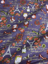 "Paris Rosette Print 100% Cotton Fabric 44""W - Purple"