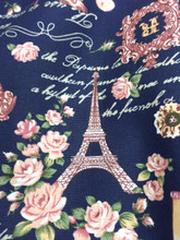 "Paris Rosette Print 100% Cotton Fabric 44""W - Dark Blue"