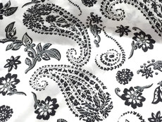 "Paisley Ivory-Black Faux Silk Satin 48""W Fabric"