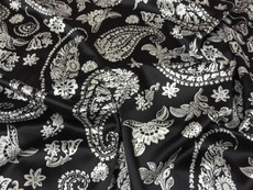 "Paisley Faux Silk Satin 48""W Fabric - Black & Ivory White"