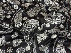 "Paisley Faux Silk Satin 48""W Fabric - Black & Ivory White"