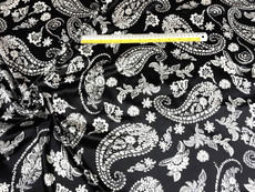 "Paisley Black-Ivory Faux Silk Satin 48""W Fabric"