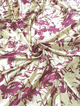 "Roses Floral Ivory & Burgundy Faux Silk Satin 48""W Fabric"