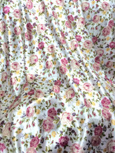 "Floral Roses  Ivory-Dusty Rose Faux Silk Satin 48""W Fabric"