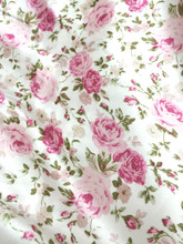 "Floral Roses Ivory-Pink Faux Silk Satin 48""W Fabric"