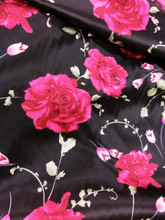 "Floral Black Satin Pink Red Roses Faux Silk Satin 48""W Fabric"