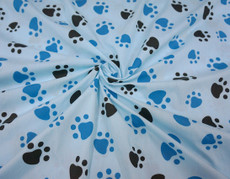 Dog Paws Print Cotton Fabric - Blue & Black