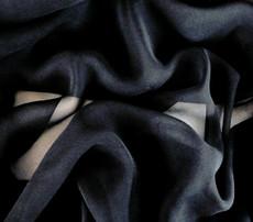 "Black Silk Blend Chiffon Fabric 45""W"