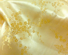 Gold Yellow Silk Shantung Cherry Blossom Brocade
