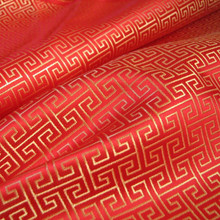 Swirl Wind Oriental Pattern Brocade Faux Silk Shantung - Red Gold