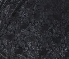 """3D PAISLEY EMBOSS STRETCH VELVET 60""""W - BLACK"""