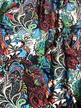 "Colorful Floral Paisley Faux Silk Satin 48""W Fabric - Black"