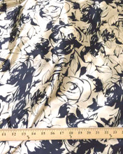"Rose Rosette Floral Faux Silk Satin 48""W Fabric - Black & Gold"