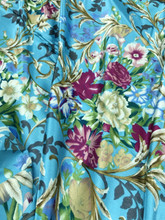 "Floral Faux Silk Satin 48""W Fabric - Turquoise"
